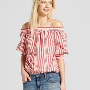 Who What Wear red  off the shoulder blouse NWT